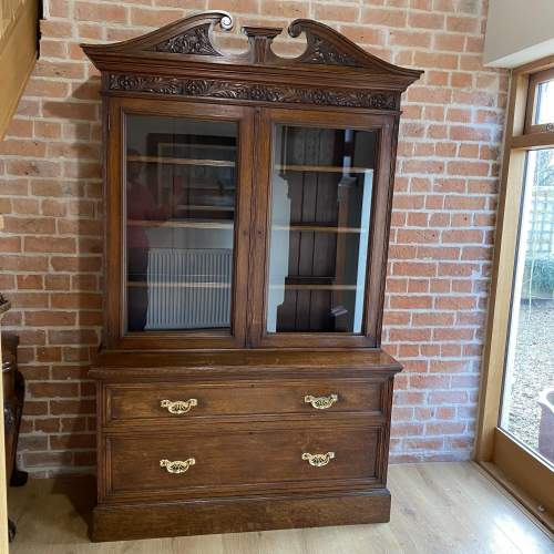 Victorian Oak Bookcase over Deep Drawers - Circa 1860 image-1