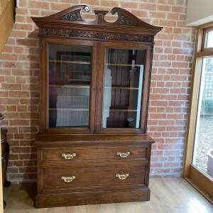 Victorian Oak Bookcase over Deep Drawers - Circa 1860