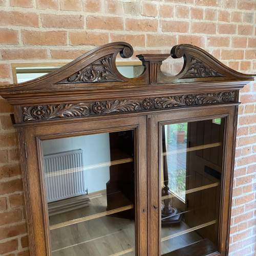 Victorian Oak Bookcase over Deep Drawers - Circa 1860 image-2
