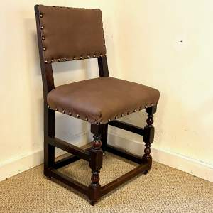 Tudor Style Oak Hall Chair Fully Reupholstered