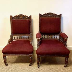 Edwardian Upholstered Ladies and Gents Chairs