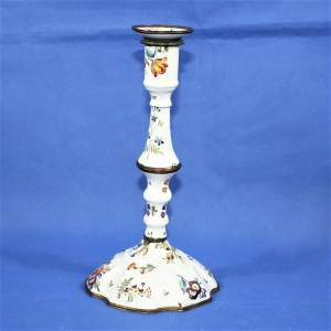 Decorative and Quirky 18th Century Enamel on Copper Candlestick
