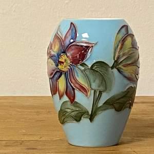 Moorcroft Pottery Pale Blue Dahlia Vase