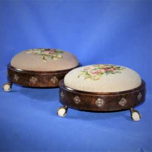 Pair of Round 19th Century Woolwork Walnut Footstools