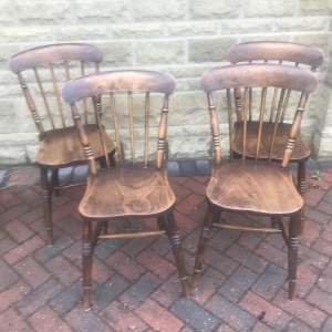 Set of Four Kitchen Spindle Back Chairs