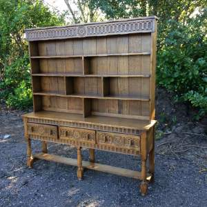 Solid Heavy Carved Oak Dresser