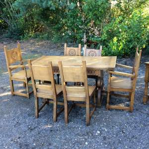 Solid Heavy Carved Oak Refectory Table and Chairs wth Rose Emblem
