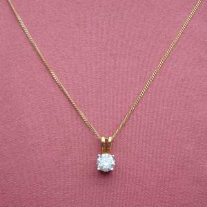 18ct Gold Necklace with 0.4ct Solitaire Diamond Pendant