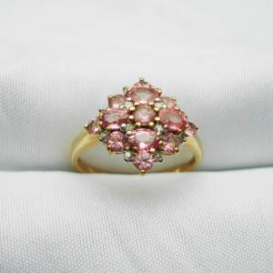 9ct Gold Cluster Ring set Pink Tourmaline and Diamonds