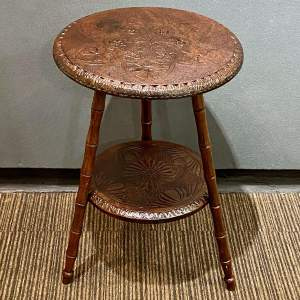 19th Century Carved Oak Two Tier Table