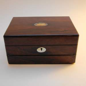 Ladies Victorian Rosewood Writing Sewing Box Combination