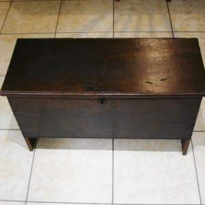 Early 18th Century Six Plank Oak Coffer with Candle Box