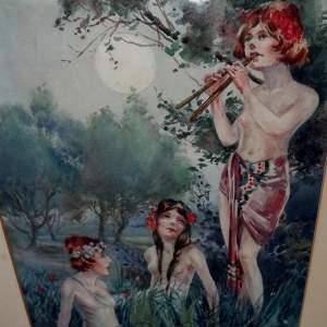 Circa 1920 Gilt Framed Irish Water Colour by Everett Galloway