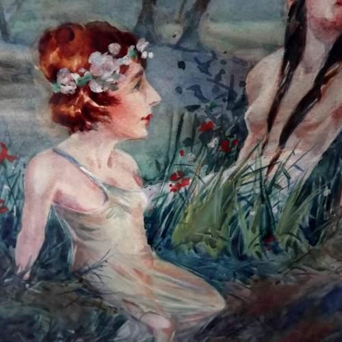 Circa 1920 Gilt Framed Irish Water Colour by Everett Galloway image-3