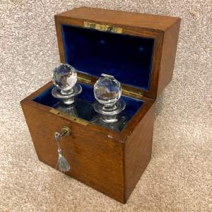 19th Century Oak Two Bottle Campaign Tantalus