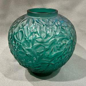 Rene Lalique Early and Rare Green Glass Mistletoe Gui Vase