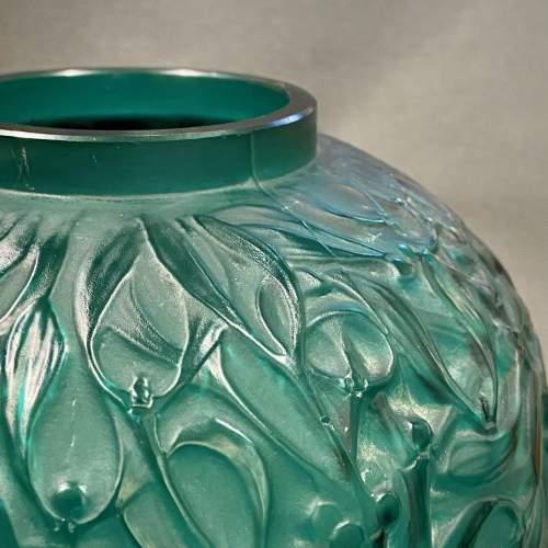 Rene Lalique Early and Rare Green Glass Mistletoe Gui Vase image-3