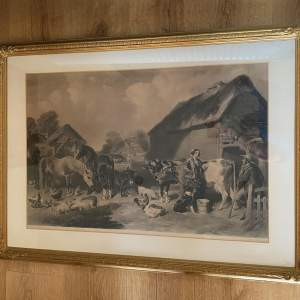 Farm Yard Scene by J.F. Herring - Victorian Lithograph Print