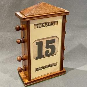 Edwardian Mahogany Framed Perpetual Desk Calendar