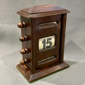 Edwardian Dark Oak Framed Perpetual Desk Calendar