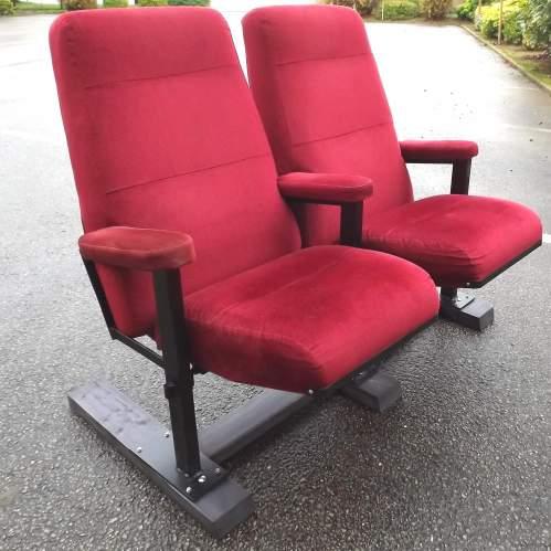 Pair of Vintage Premium Cinema Seats Freestanding on Bespoke Base image-1