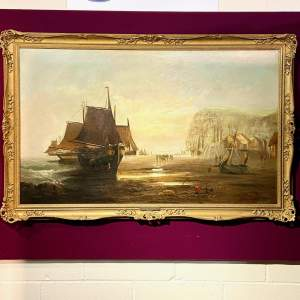 Large Stunning 19th Century James Webb Seascape Oil on Canvas
