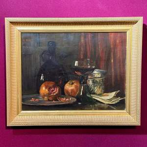 19th Century Still Life with Pomegranate Oil on Canvas