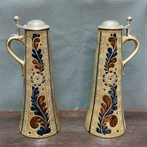 Pair of 1930s Stoneware Pewter Lidded Flagons