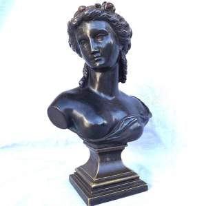 19th Century French Bronze and Spelter Bust Marked L'Oundry Pre