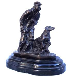 Early 20th Century French Bronze of Huntsman with Dog Marked Mene