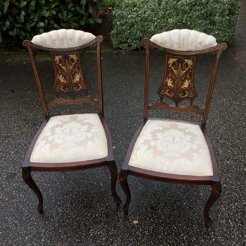 Pair of Victorian Mahogany Inlaid Bedroom Chairs by H Barker image-1