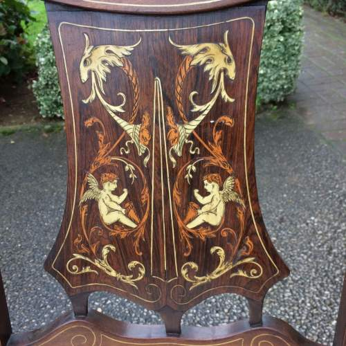 Pair of Victorian Mahogany Inlaid Bedroom Chairs by H Barker image-2