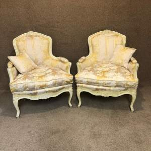Pair of Louis XV Style Walnut Framed Salon Armchairs