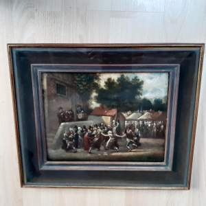 18th Century Flemish School Signed Painting of the Village Party