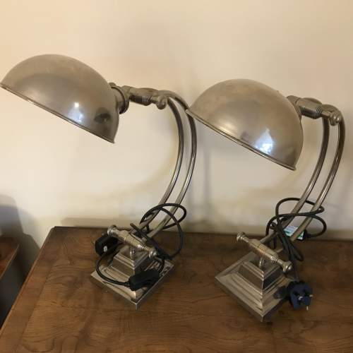 Pair of High Quality Stainless Steel Desk Lamps image-1