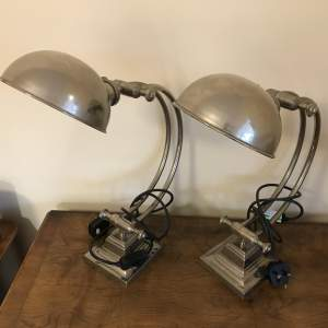 Pair of High Quality Stainless Steel Desk Lamps