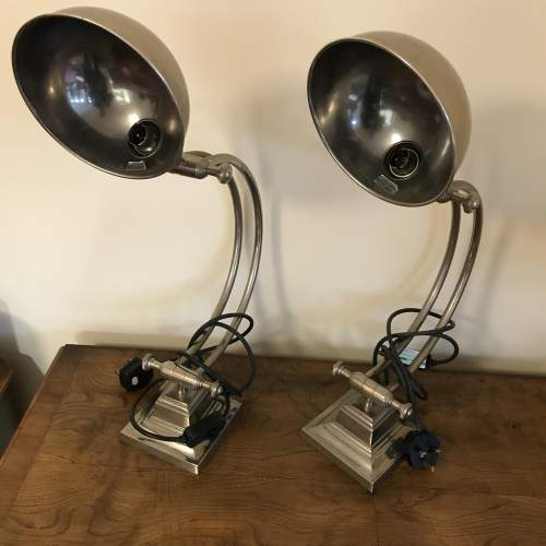 Pair of High Quality Stainless Steel Desk Lamps image-2