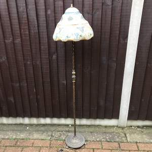 Unusual Brass Standard Lamp with Painted Parchment Shade
