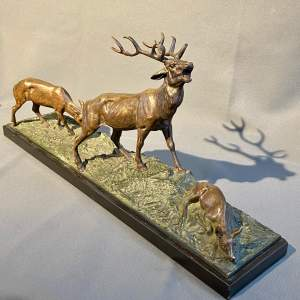 19th Century Bronze Stag and Family Figure