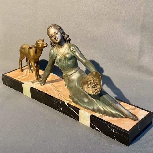 20th Century Art Deco Lady and Lamb Figure image-1