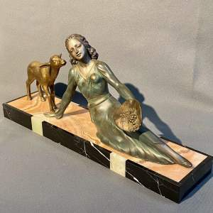 20th Century Art Deco Lady and Lamb Figure