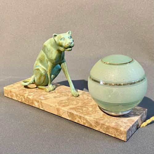 20th Century Art Deco Panther Lamp image-1