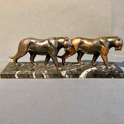 20th Century Pair of Art Deco Pumas Figure image-4