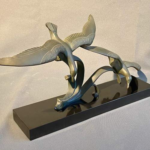 20th Century Pair of Bronze Flying Birds image-1