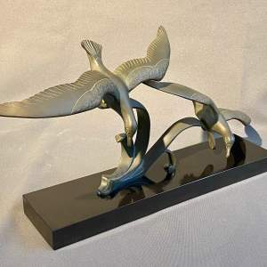 20th Century Pair of Bronze Flying Birds