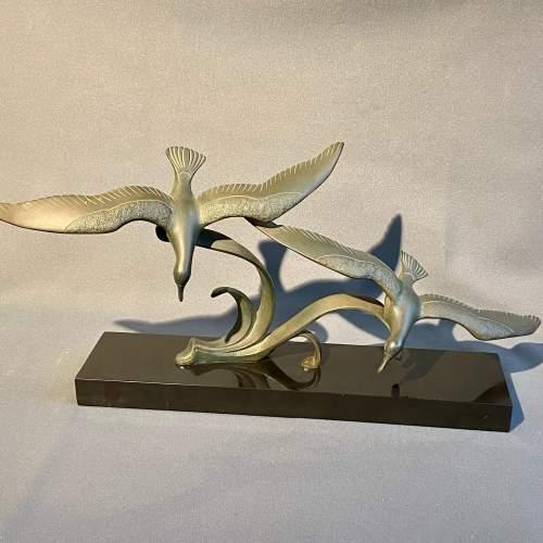 20th Century Pair of Bronze Flying Birds image-2