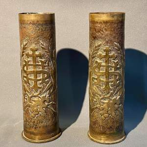 20th Century Large Pair of Trench D'art Gun-shell Vases