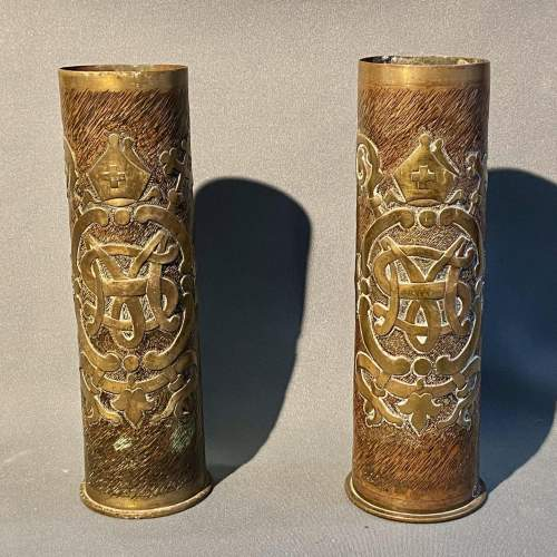 Large 20th Century Pair of Trench D'art Gun-shell Vases image-1