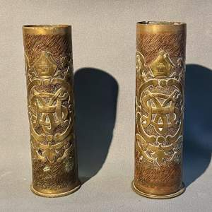 Large 20th Century Pair of Trench D'art Gun-shell Vases