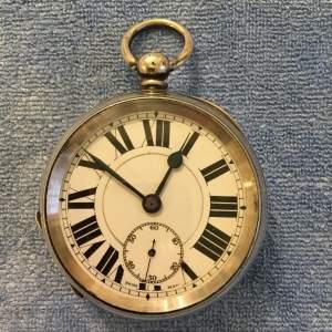 Swiss Silver Pocket Watch Stamped 925